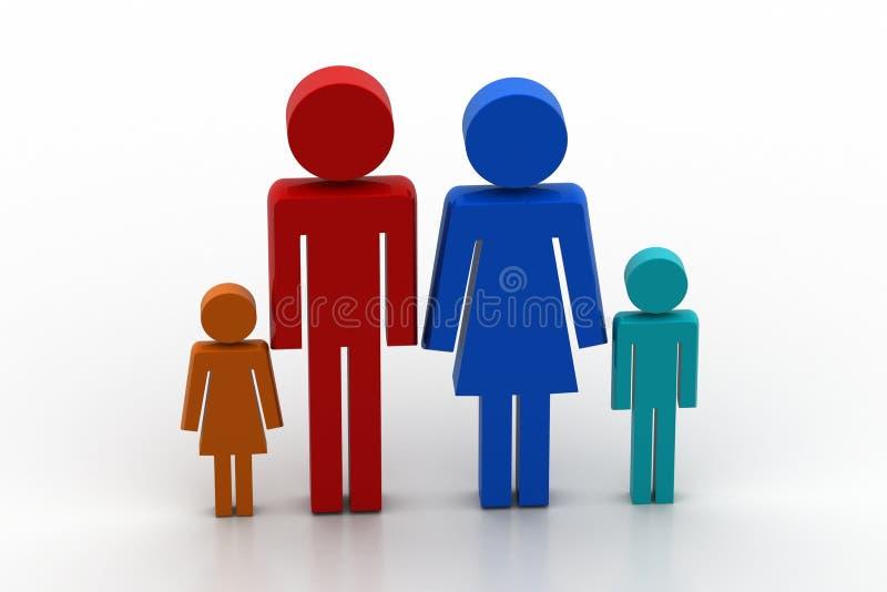 икона семьи 3d иллюстрация вектора