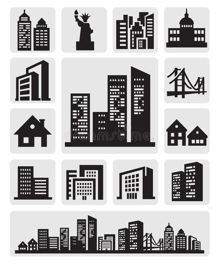 Икона силуэта городов иллюстрация штока