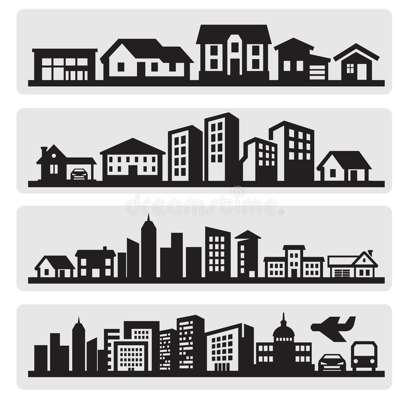 Икона силуэта городов иллюстрация вектора