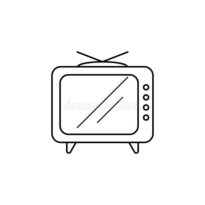 икона старый tv Средства массовой информации подписывают для передвижных apps концепции и сети Тонкая линия значок для дизайна ве бесплатная иллюстрация