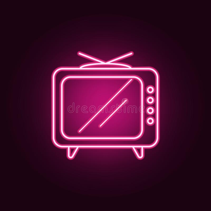 икона старый tv Элементы средств массовой информации в неоновых значках стиля Простой значок для вебсайтов, веб-дизайн, мобильное иллюстрация вектора