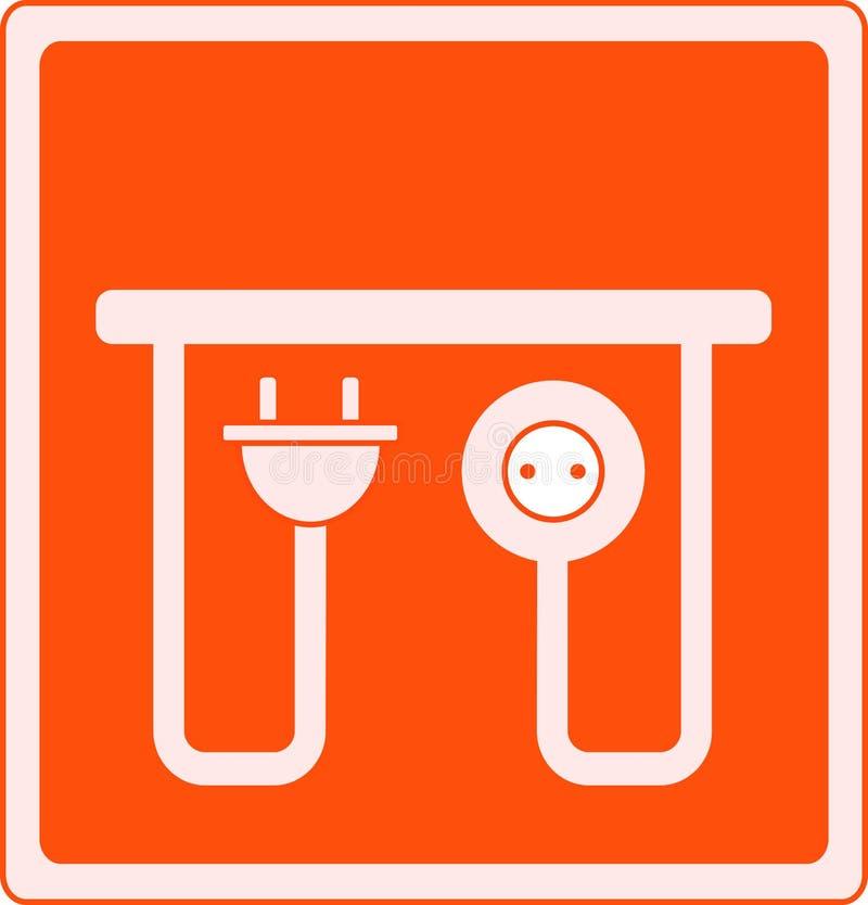 Икона с выходом и штепсельной вилкой AC иллюстрация штока