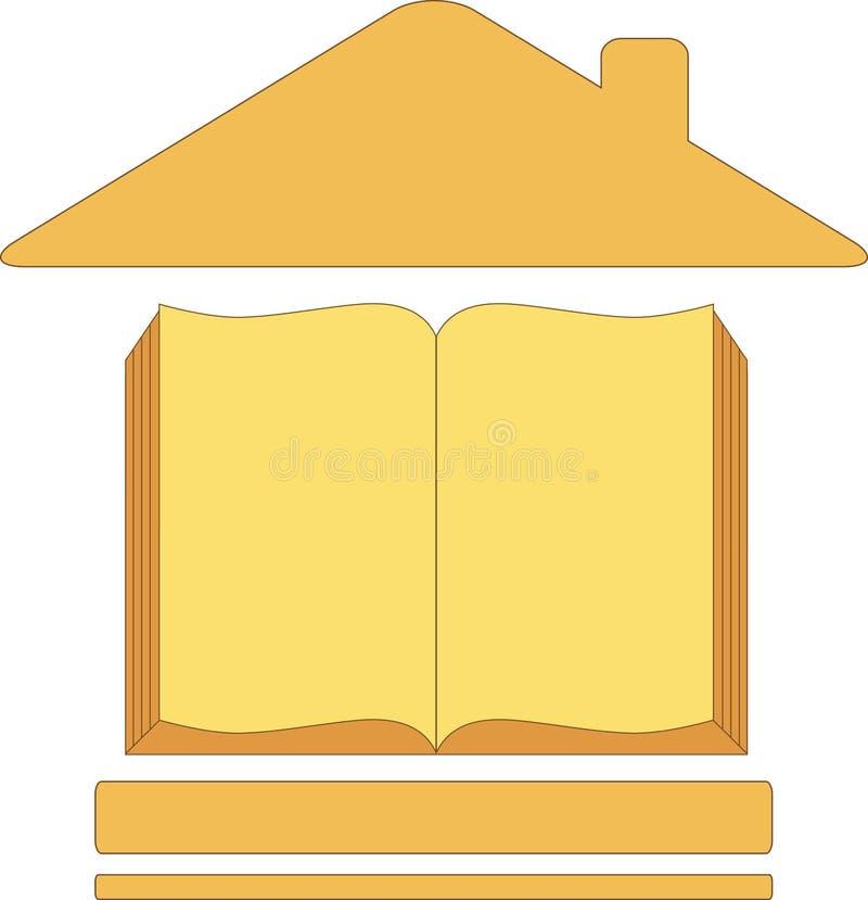 Икона с книгой дома иллюстрация вектора