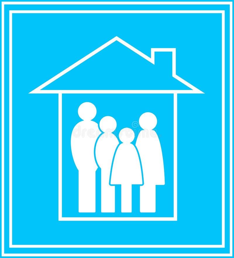Икона с семьей и домом иллюстрация вектора