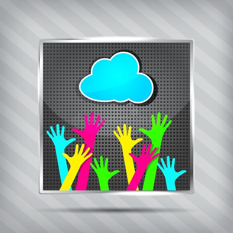 Икона с счастливыми руками и голубым облаком иллюстрация вектора