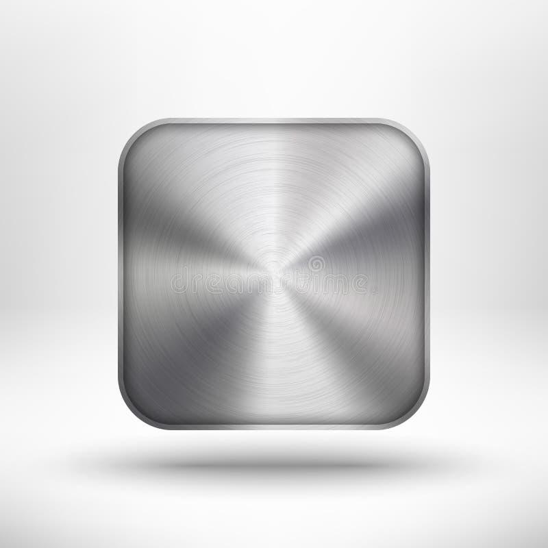Икона технологии с текстурой и тенью металла бесплатная иллюстрация