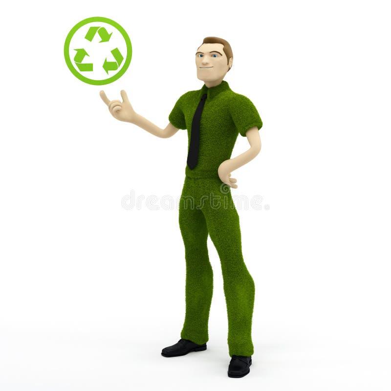 икона удерживания бизнесмена 3d рециркулирует иллюстрация вектора