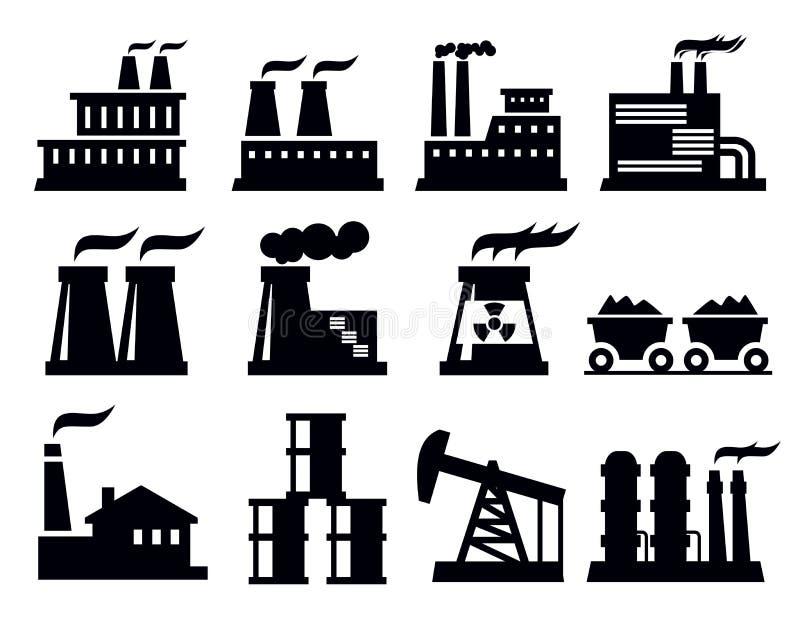 Икона фабрики здания иллюстрация штока