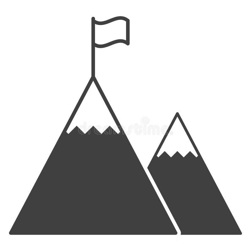 икона Флаг na górze самой высокой горы Иллюстрация вектора, изолированная на белой предпосылке Легко редактировать цвет th иллюстрация вектора