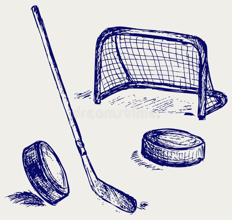 Икона хоккея иллюстрация вектора