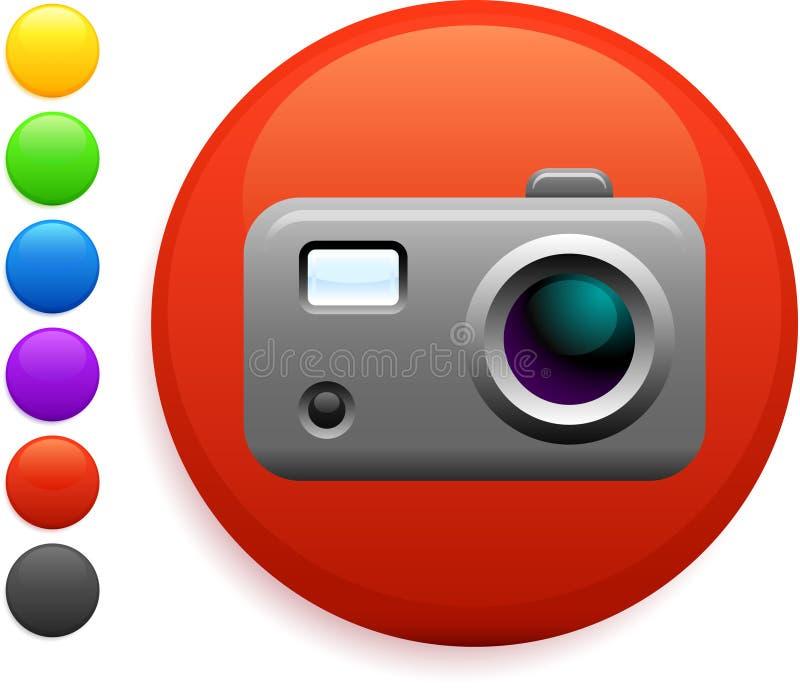 Икона цифровой фотокамера на круглой кнопке интернета бесплатная иллюстрация