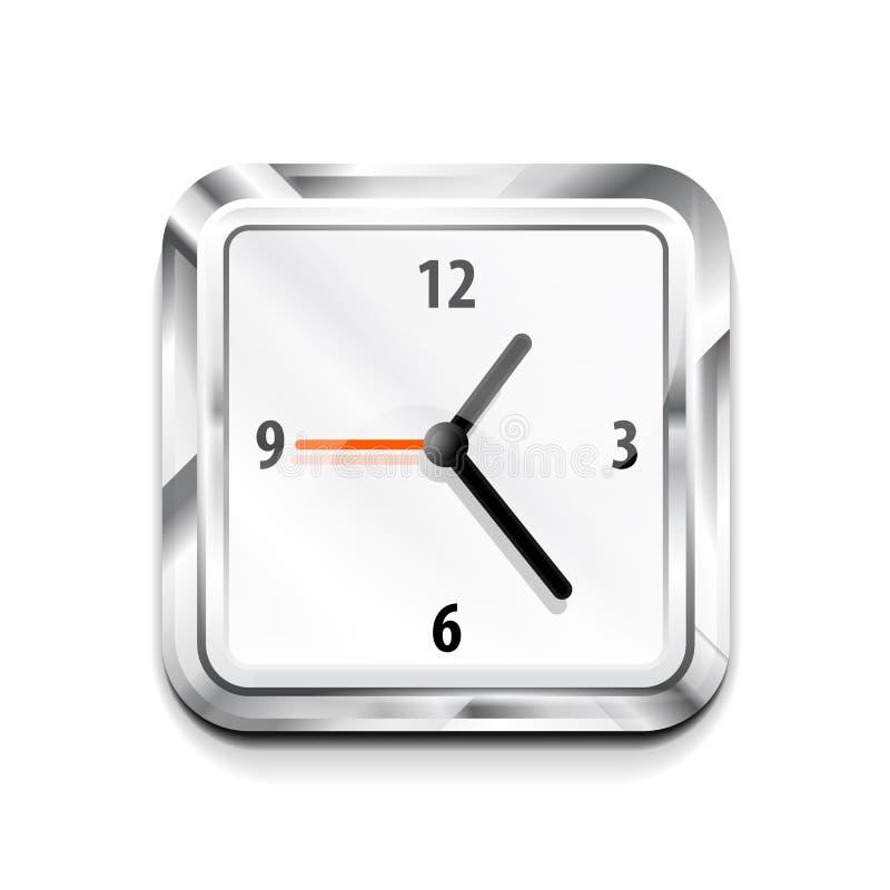 Икона часов металла квадратная. Иллюстрация вектора иллюстрация вектора