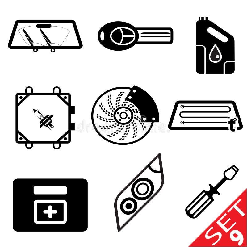 Икона части автомобиля установила 9 бесплатная иллюстрация