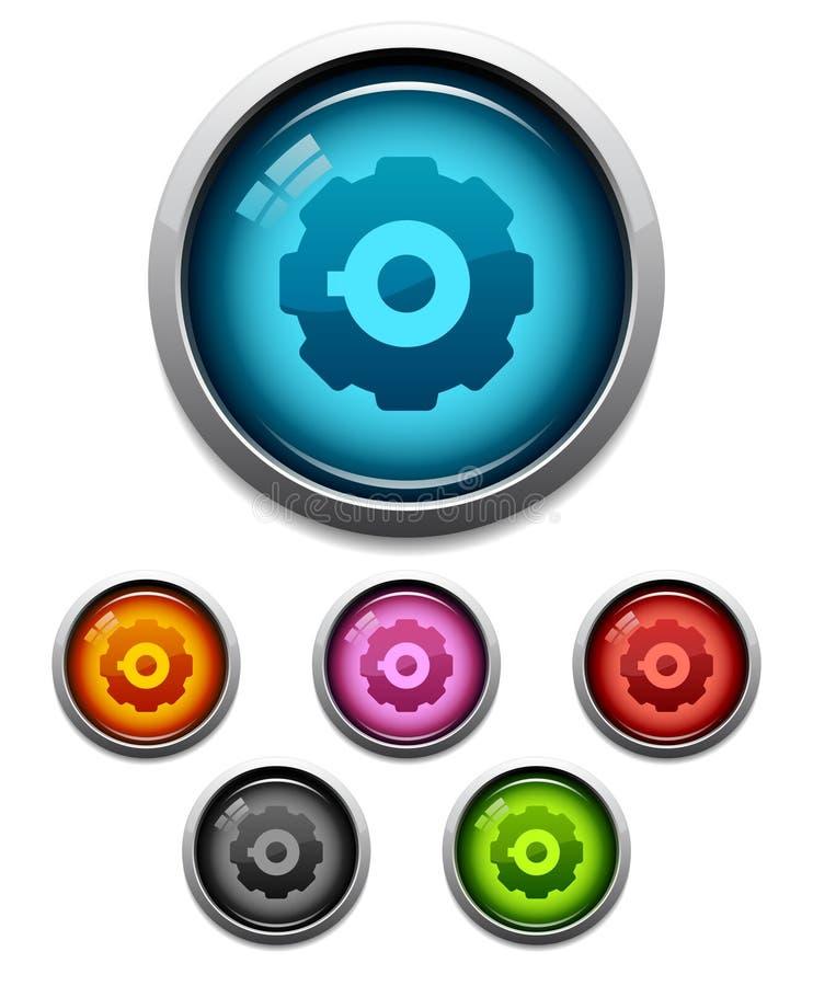 икона шестерни кнопки иллюстрация штока