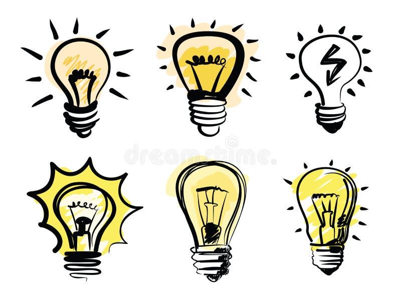 Икона электрических лампочек иллюстрация штока
