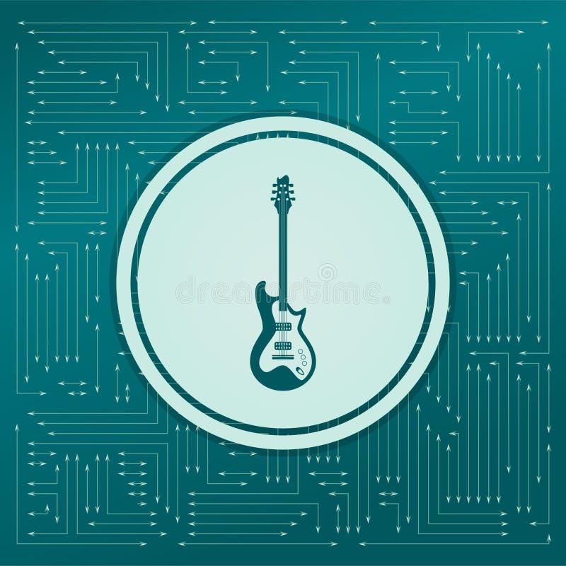 икона электрической гитары на зеленой предпосылке, с стрелками в различных направлениях Оно появляется электронная доска иллюстрация штока