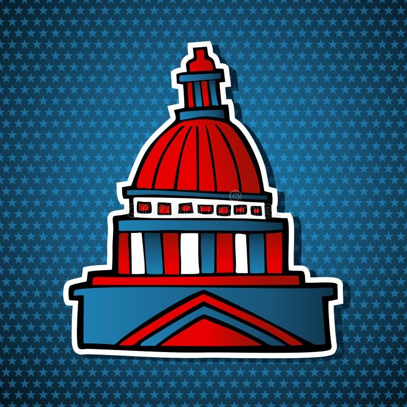 Икона эскиза здания капитолия избраний США иллюстрация вектора