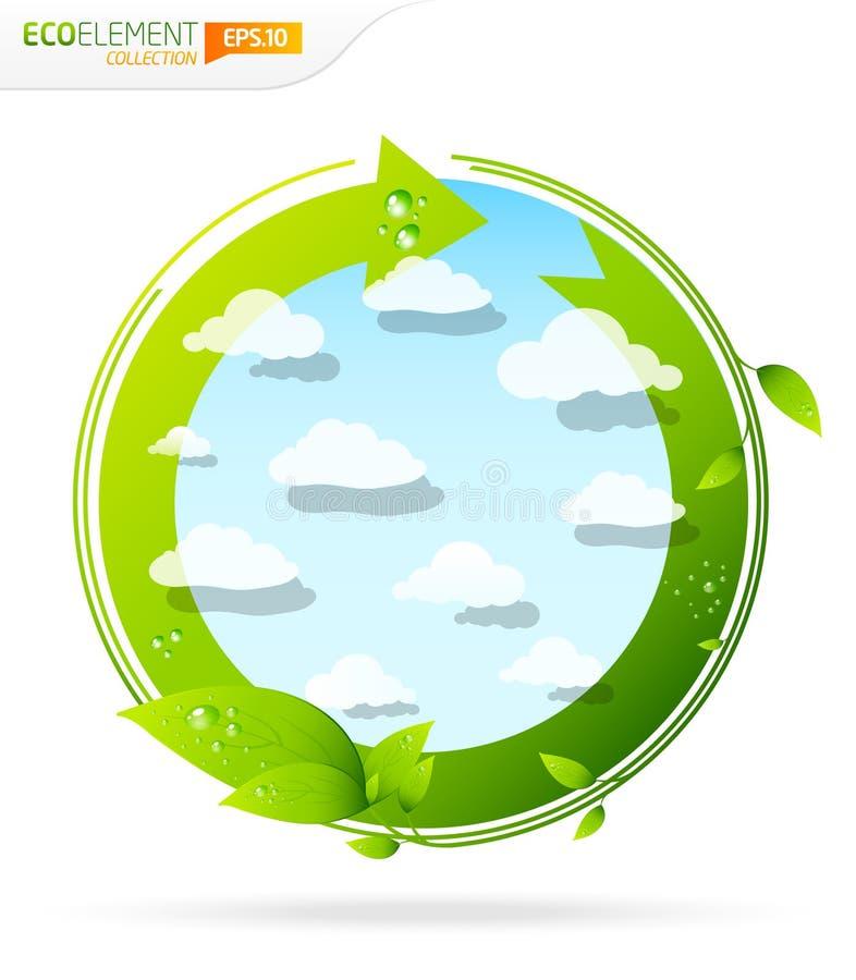 икона eco зеленая глянцеватая иллюстрация вектора