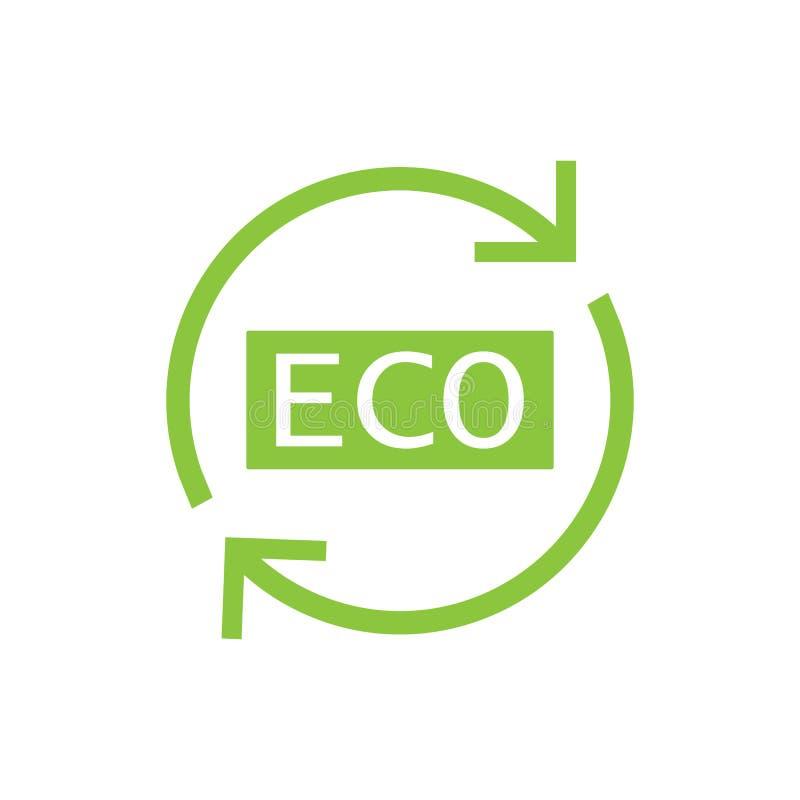 Икона Eco Знак экологичности Иллюстрация вектора, плоский дизайн иллюстрация вектора