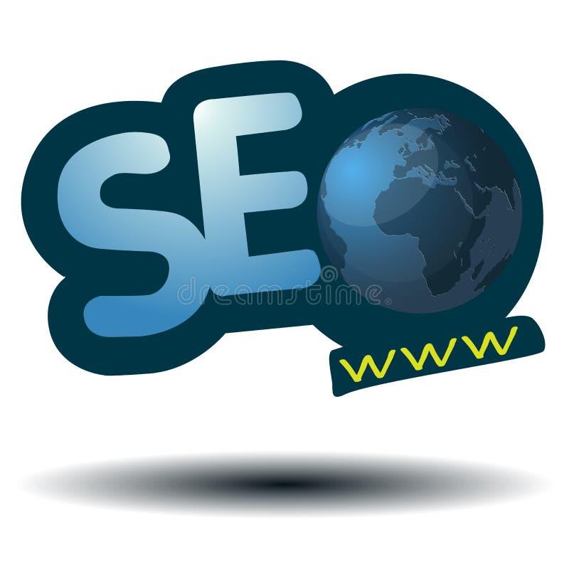 Икона SEO с голубым глобусом WWW мира бесплатная иллюстрация