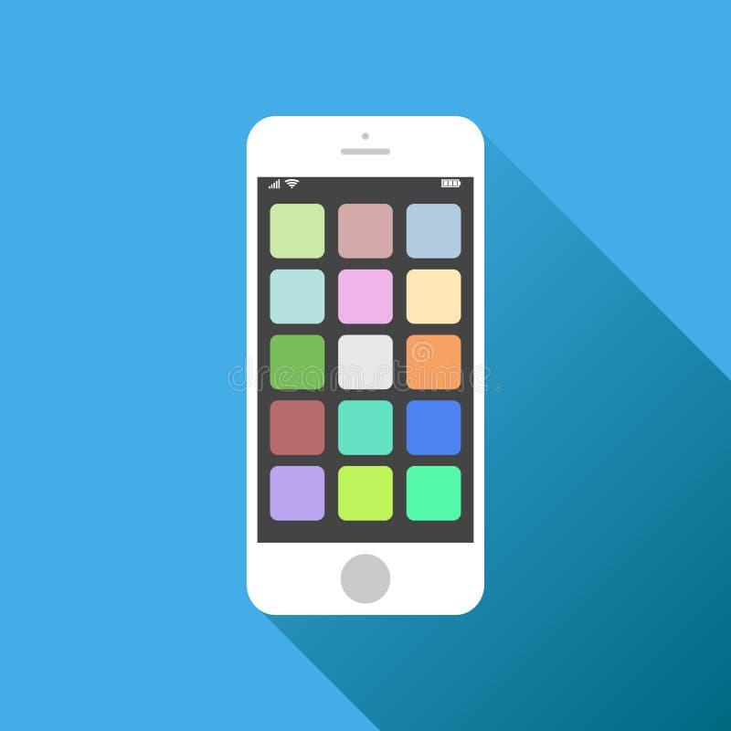 Икона Smartphone Иллюстрация вектора на голубой предпосылке с sha бесплатная иллюстрация