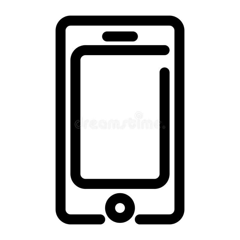 Икона Smartphone символ мобильного телефона Элемент современного дизайна плана Простой черный плоский знак вектора с округленными бесплатная иллюстрация