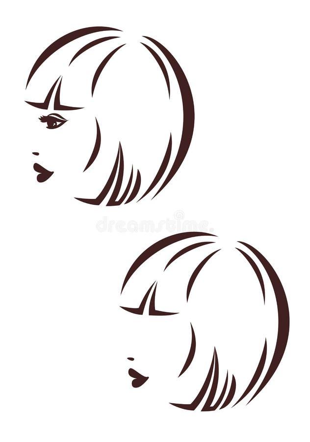 Икона stile волос, профиль женщины, bob стрижки бесплатная иллюстрация