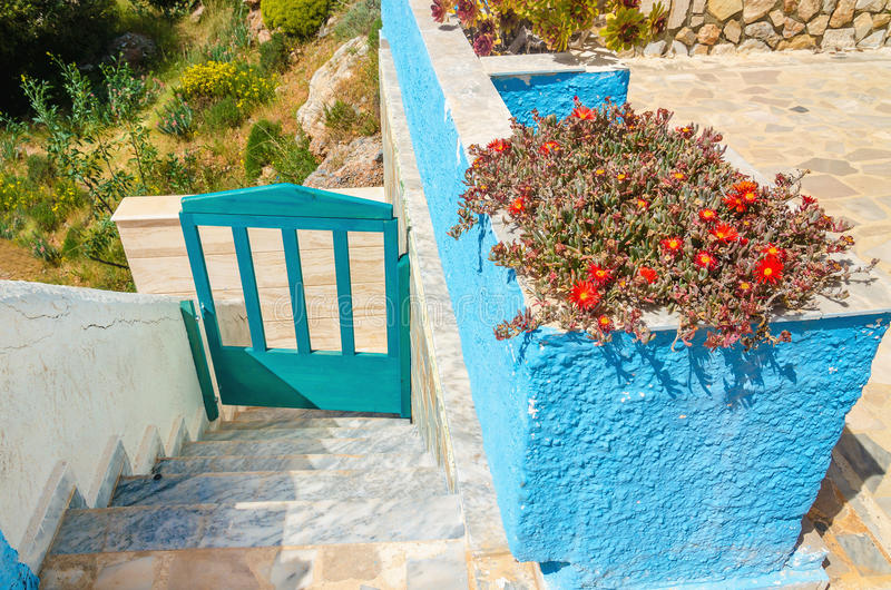 Иконическая голубая загородка и сине-белая стена с красными цветками стоковая фотография
