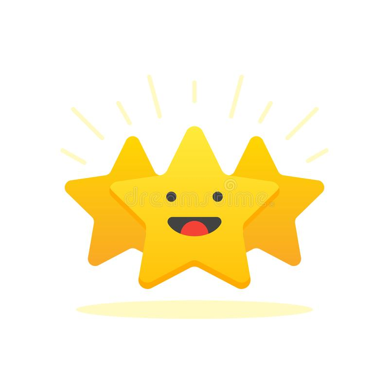 Иконическая иллюстрация уровня соответствия Обзор клиента дает звезду Концепция положительного результата воздействия Минимальный иллюстрация вектора