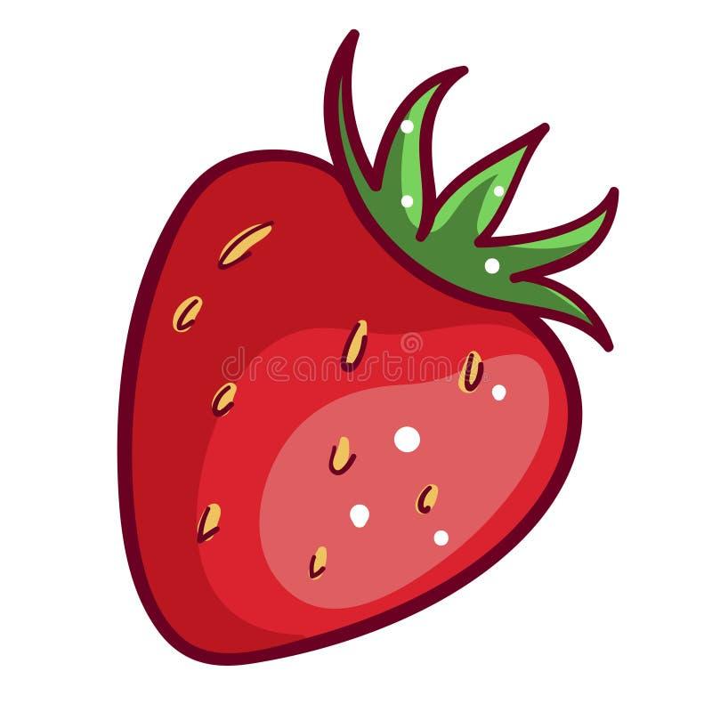 иконка клубники красной ягоды, сладкая здоровая свежесть иллюстрация вектора