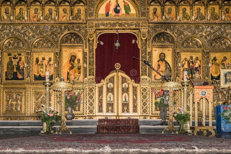 Иконостас в соборе Melkite стоковые изображения