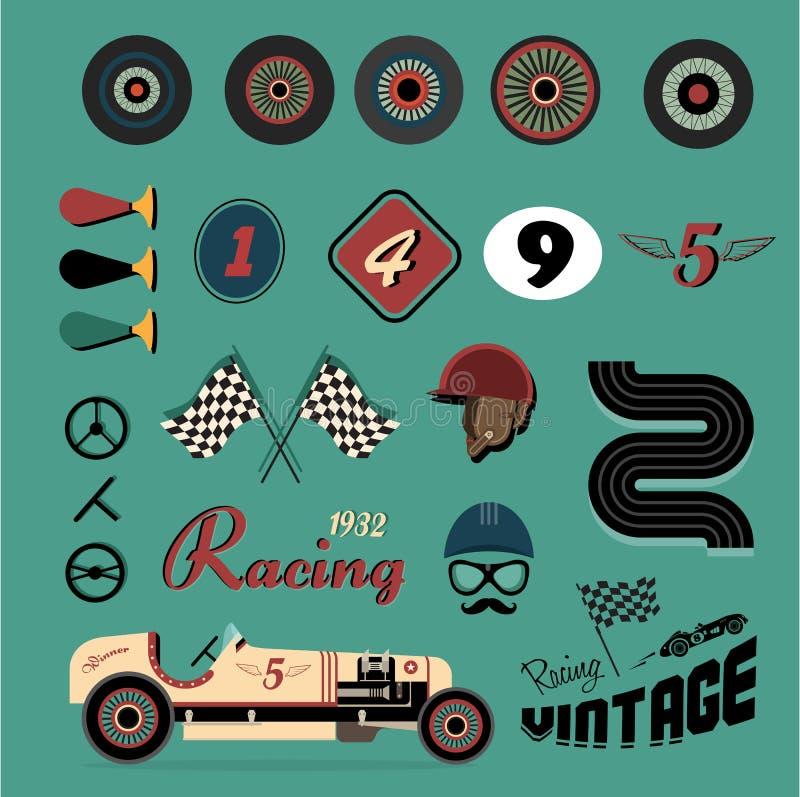 иконы автомобиля участвуя в гонке сбор винограда вектора иллюстрация штока