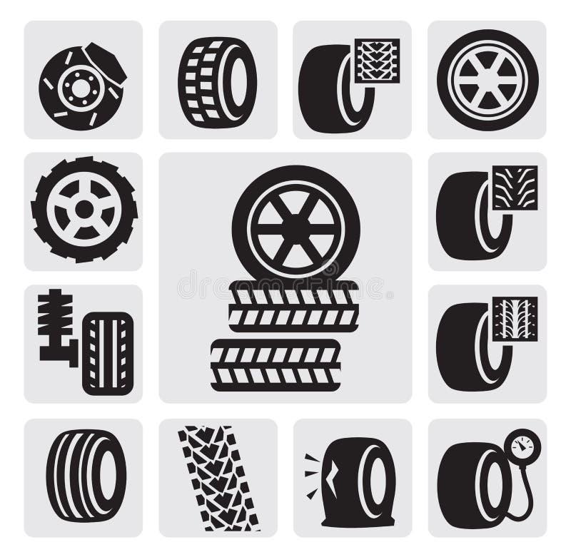 Иконы автошины иллюстрация штока