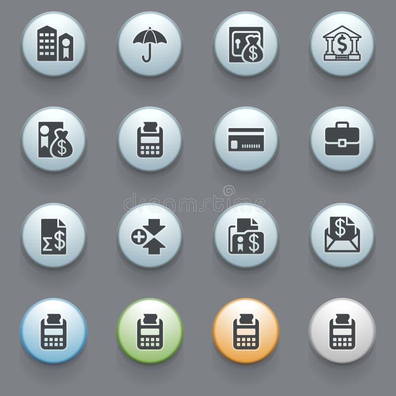 Иконы банка для вебсайта на серой предпосылке. бесплатная иллюстрация
