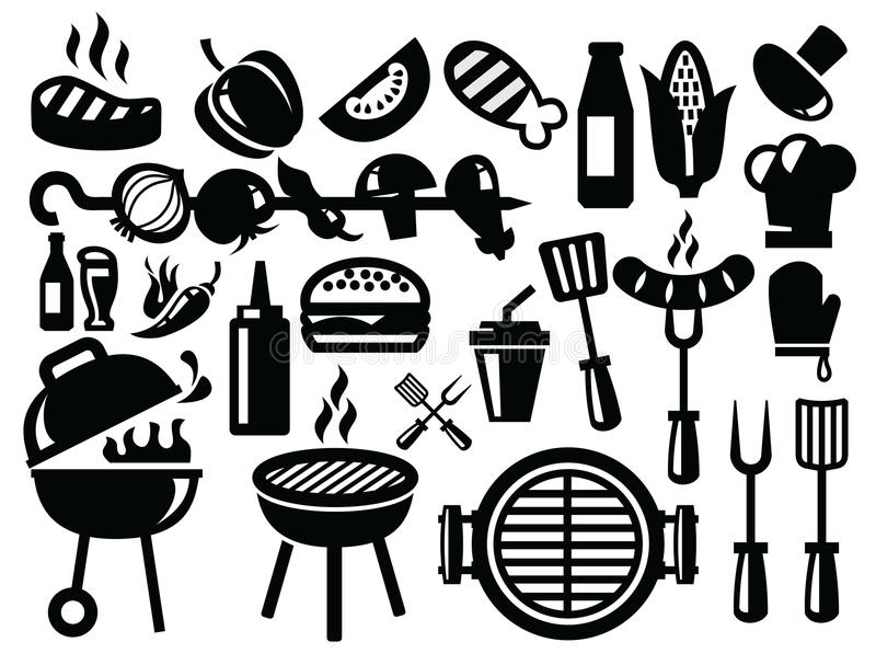Иконы барбекю бесплатная иллюстрация