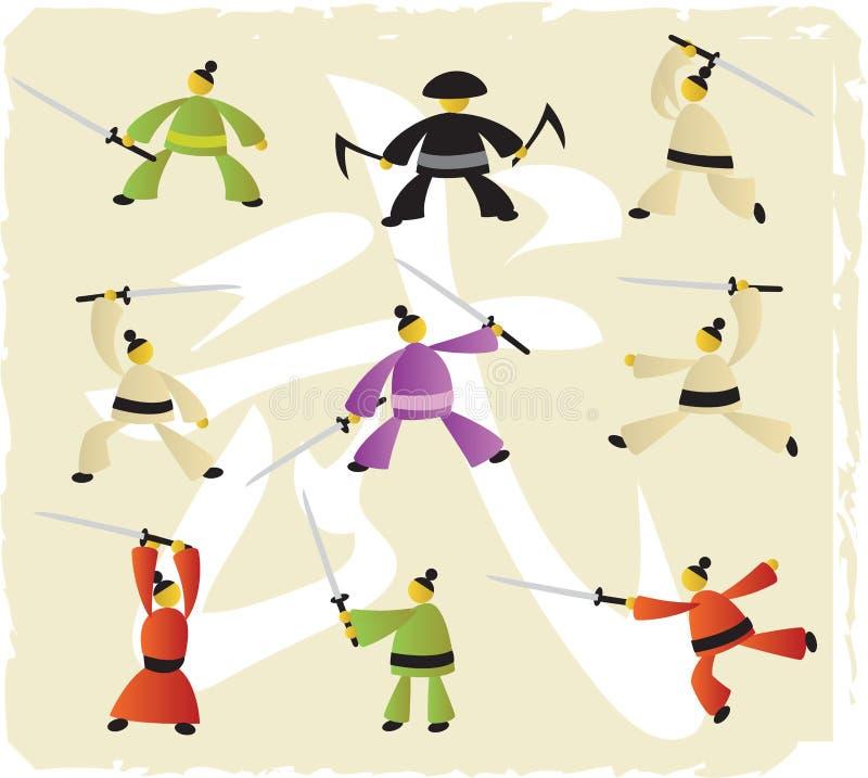Иконы боевых искусств иллюстрация вектора