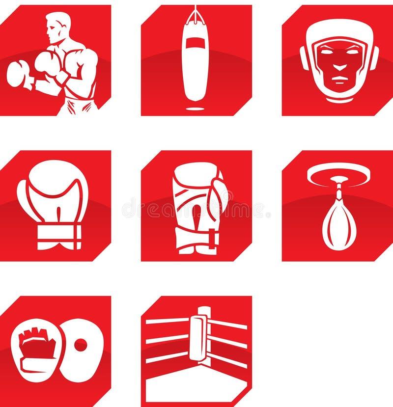 Иконы бокса иллюстрация штока