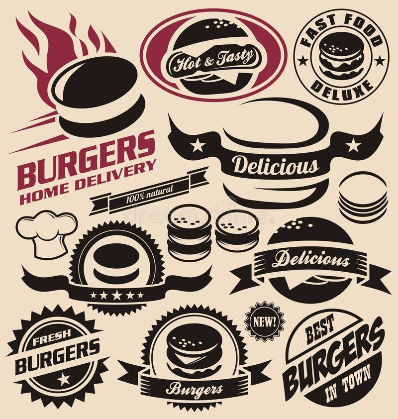 Иконы бургера, ярлыки, знаки, символы и элементы конструкции иллюстрация штока