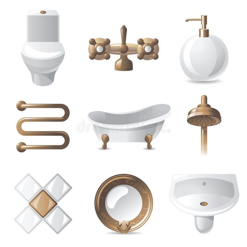 Иконы ванной комнаты иллюстрация штока