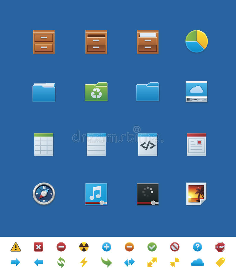 Иконы вебсайта вектора общие для вебмастеров иллюстрация вектора