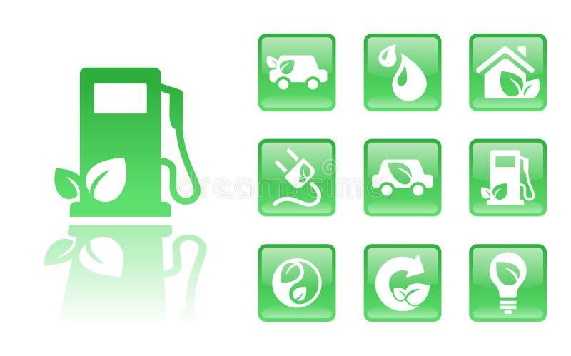 иконы газа зеленые иллюстрация штока