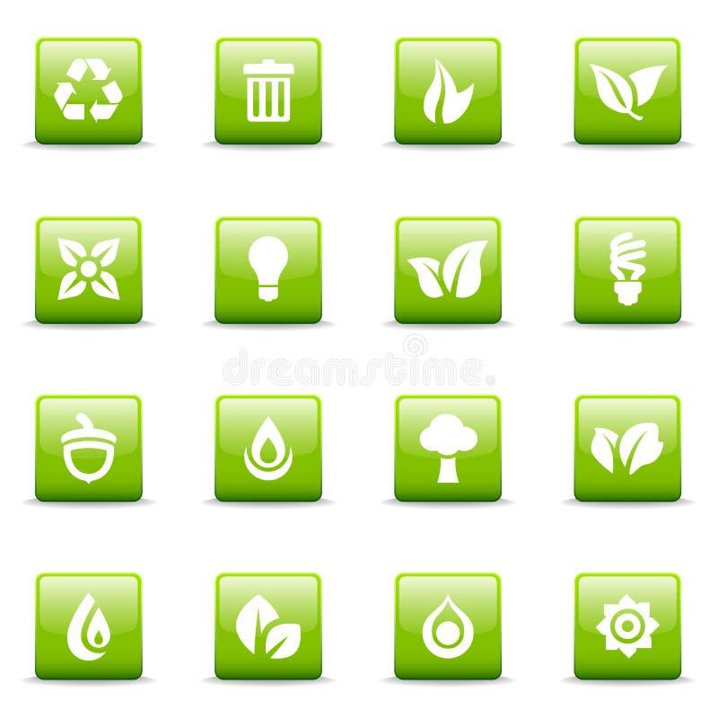 иконы графиков зеленые иллюстрация вектора