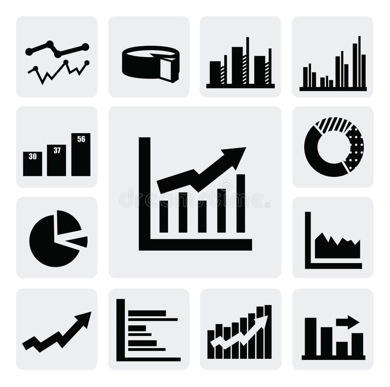 Иконы диаграммы дела иллюстрация штока