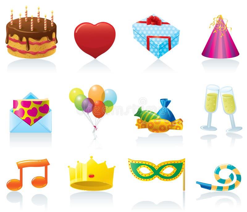 иконы дня рождения иллюстрация вектора