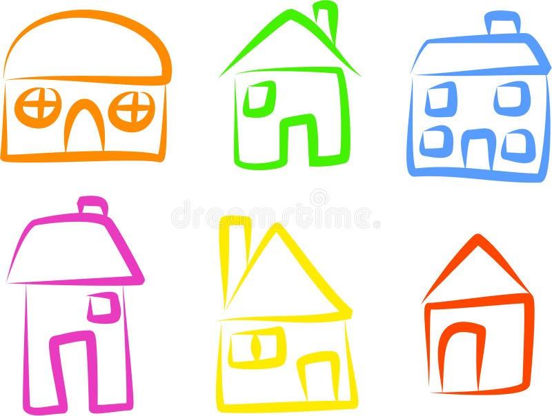 иконы дома иллюстрация вектора