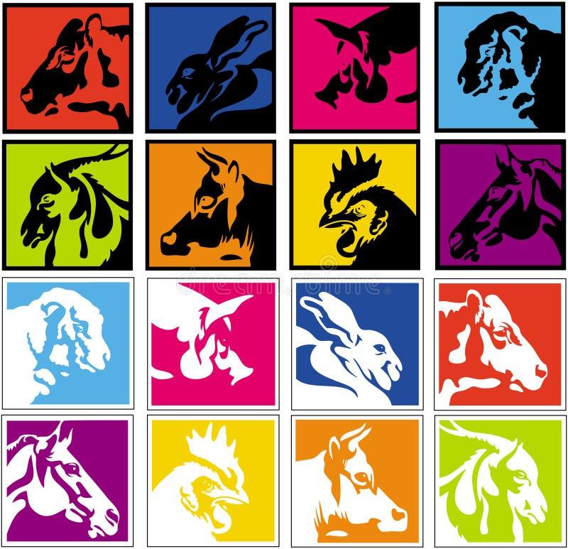 иконы животной фермы стоковое изображение