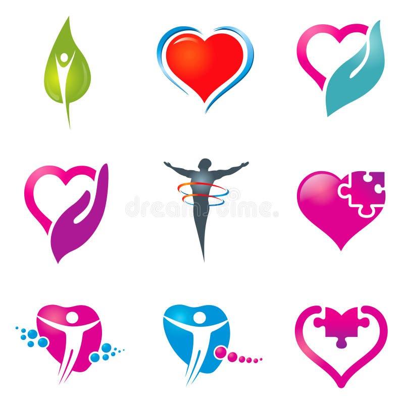 иконы здоровья внимательности иллюстрация вектора