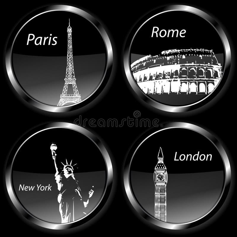 Иконы значков назначения перемещения, комплект с Парижом, Лондон, Рим и нью-йорк иллюстрация штока