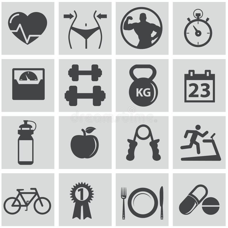 Иконы здоровья и пригодности иллюстрация вектора