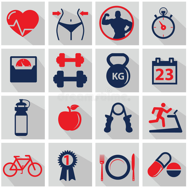 Иконы здоровья и пригодности иллюстрация штока